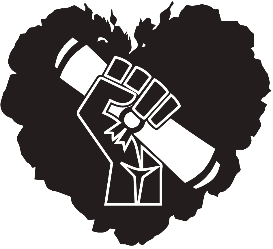 LPSF logo has a stylized afro in the shape of a heart. Instead the heart is a black power fist holding a diploma